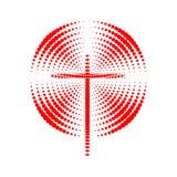 Logotipo da igreja Símbolos cristãos A cruz de Jesus e do esplendor radial ilustração do vetor