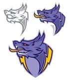 Logotipo da ilustração do vetor da cabeça da mascote do dragão Fotografia de Stock Royalty Free