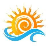 Logotipo da imagem da estação do mar e do sol Imagens de Stock Royalty Free