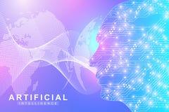Logotipo da inteligência artificial Conceito da inteligência artificial e da aprendizagem de máquina Símbolo AI do vetor Redes ne ilustração stock