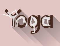 Logotipo da ioga como a rotulação e as poses fotografia de stock royalty free