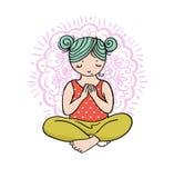 Logotipo da ioga da criança Ginástica para crianças Cartaz saudável do estilo de vida ilustração royalty free