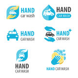 Logotipo da lavagem de carros da mão Foto de Stock Royalty Free