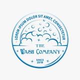 Logotipo da lavagem Vetor e ilustração Projeto do t-shirt Projeto dos bubles do sabão ilustração stock