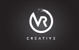 Logotipo da letra circular de VR com projeto da escova do círculo e preto Backg ilustração do vetor