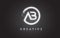 Logotipo da letra circular do AB com projeto da escova do círculo e preto Backg Fotografia de Stock