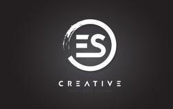 Logotipo da letra circular do ES com projeto da escova do círculo e preto Backg Fotos de Stock Royalty Free