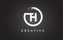 Logotipo da letra circular do TH com projeto da escova do círculo e preto Backg Fotografia de Stock Royalty Free