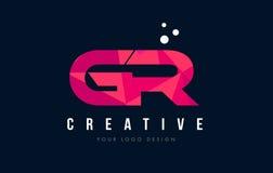 Logotipo da letra da GR G R com baixo conceito cor-de-rosa poli roxo dos triângulos Foto de Stock