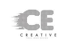 Logotipo da letra do CE C E com pontos e as fugas pretos Foto de Stock
