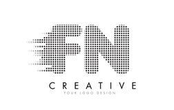Logotipo da letra do FN F N com pontos e as fugas pretos Imagens de Stock Royalty Free