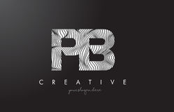 Logotipo da letra do PB P B com linhas vetor da zebra do projeto da textura Fotografia de Stock Royalty Free