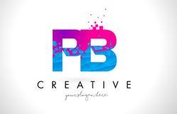 Logotipo da letra do PB P B com textura cor-de-rosa azul quebrada quebrada Desig Fotografia de Stock Royalty Free