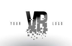 Logotipo da letra do pixel de VR V R com quadrados pretos quebrados Digitas Imagens de Stock