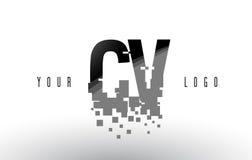 Logotipo da letra do pixel do CV C V com quadrados pretos quebrados Digitas Imagem de Stock Royalty Free