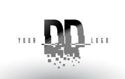 Logotipo da letra do pixel do DD D D com quadrados pretos quebrados Digitas Fotos de Stock