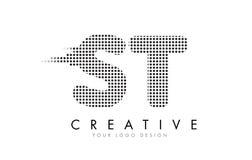 Logotipo da letra do ST S T com pontos e as fugas pretos Fotos de Stock