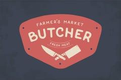 Logotipo da loja de carne do carniceiro ilustração royalty free