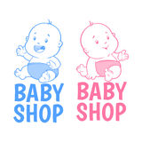 Logotipo da loja de dois bebês Foto de Stock Royalty Free