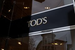Logotipo da loja de Tod em Francoforte imagens de stock royalty free