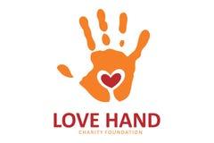 Logotipo da mão do amor Fotos de Stock