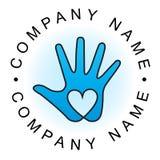 Logotipo da mão do coração Foto de Stock Royalty Free
