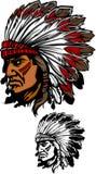 Logotipo da mascote do chefe indiano Imagem de Stock