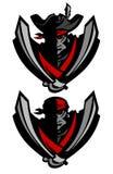 Logotipo da mascote do pirata do avião atacante