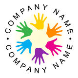 Logotipo da mão da unidade do arco-íris Fotos de Stock Royalty Free