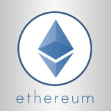 Logotipo da moeda do cripto de Ethereum Imagens de Stock Royalty Free
