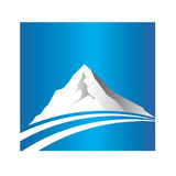 Logotipo da montanha e da estrada Fotos de Stock