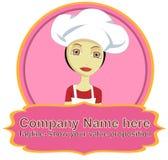Logotipo da mulher do cozinheiro chefe com bandeira Fotos de Stock