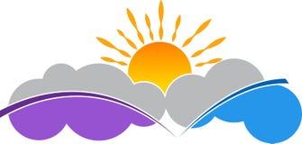 Logotipo da nuvem e do sol ilustração stock