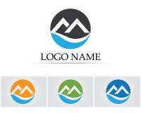 Logotipo da onda de montanha de M e molde simples dos símbolos Fotografia de Stock
