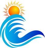 Logotipo da onda e do sol ilustração do vetor