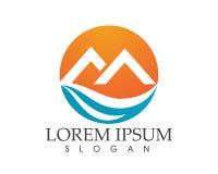 Logotipo da paisagem da natureza da montanha e molde dos ícones dos símbolos Imagem de Stock Royalty Free