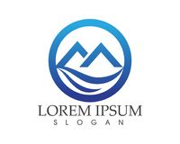 Logotipo da paisagem da natureza da montanha e molde dos ícones dos símbolos Fotografia de Stock Royalty Free