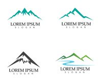 Logotipo da paisagem da natureza da montanha e molde dos ícones dos símbolos Foto de Stock