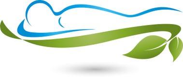 Logotipo da pessoa e das folhas, da planta, da massagem e do bem-estar ilustração royalty free