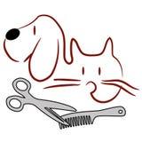 Logotipo da preparação do gato e do cão ilustração stock