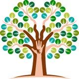 Logotipo da árvore da mão Imagem de Stock Royalty Free