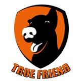 Logotipo da silhueta do amigo verdadeiro do cão Fotos de Stock Royalty Free