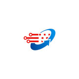 Logotipo da tecnologia da seta do círculo Foto de Stock Royalty Free