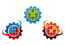Logotipo da terra da engrenagem, projeto global da engrenagem Fotografia de Stock