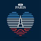 Logotipo da torre Eiffel, bandeira nacional do estado de França Imagens de Stock