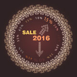Logotipo da venda do Natal em um fundo marrom Fotografia de Stock