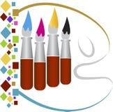 Logotipo das escovas de pintura do desenho ilustração do vetor