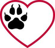 Logotipo das patas do coração e do cão, das patas do lobo, dos cães e dos lobos ilustração do vetor