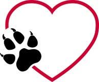 Logotipo das patas do coração e do cão, das patas do lobo, dos cães e dos lobos ilustração royalty free