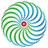 Logotipo das rodas de engrenagem ilustração stock